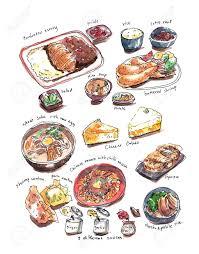 Variery of Japanese food watercolor illustration Stock Illustration
