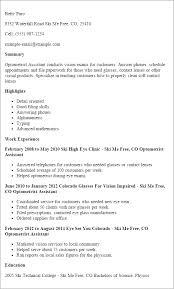resume template optometrist assistant summary highlights