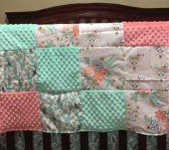 crib bedding cactus steer skull flowers mint and coral