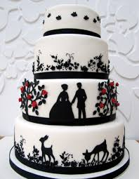 I just LOVE this beautiful wedding cake in black and white with a beautiful silhouetted fairytale whimsical stylish and chic