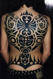 Herein Are Two Full Back Tattoos That A Mix Of Goth With Overtones Polynesia Enjoy