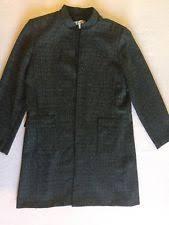 Dress Barn Open Front Coat Sz 10 Tweed Black White Long Mandarin Collar Jacket