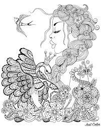 Femme Cygne Et Oiseau Coloriage DOiseaux Coloriages Pour Enfants