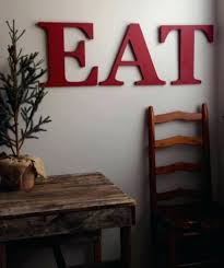 Wall Arts Red Kitchen Art Eat Wooden Letters Yellow Farmhouse Style Capital