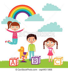 Cartoon Kids Design Cute Playing With Toys On The Clip Art