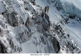 Detail Of Snow And Ice Covered Cliffs Rockfaces On Glacial Mountain Side Off The