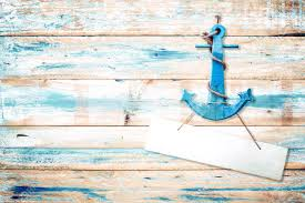 Vintage Anchor On Old Wooden Background With Blue Paint