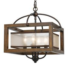 Square Wood Frame And Sheer Ceiling Light A Rustic With Champagne Shade