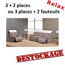 destock canape ensemble canapé relax contemporain cuir et tissu agrila