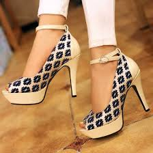 Blue Piscine Mouth Stiletto Floral Print Buckled Fashion High Heeled Shoes