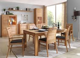 massivholz esszimmer komplett tisch 170x95 cm kernbuche massiv esszimmerstühle leder polster braun casade mobila