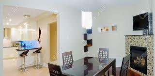 küche und esszimmer mit kamin interior design