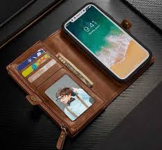 BRG iPhone X Leather Wallet Case with Magnetic Detachable Folio