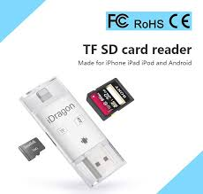 iDragon 3 In 1 TF SD Card Reader Adapter For Lightning Micro USB For iOS iPhone