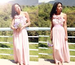 country chic vintage rose pink one shoulder floor length