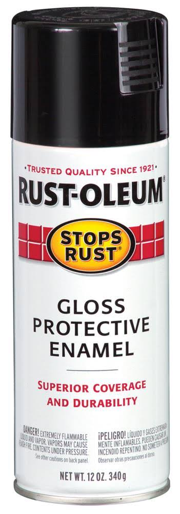 Rust-Oleum Stops Rust Spray Paint - 12oz, Gloss Black