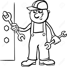 Black And White Cartoon Illustration Man Worker Workman