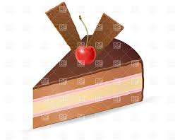 Piece Chocolate Cake With Cherry Vector Clipart Image