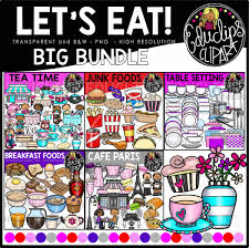 Lets Eat Food Clip Art Big Bundle Color And BW