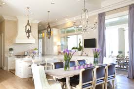 Lilac Silk Curtains For French Country Dining Room Decorating Ideas With Crystal Chandelier And White Kitchen Cabinet