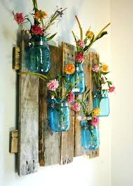 Mason Jar Kitchen Decor Edition Blue Unique Large Wall Piece With Painted Jars