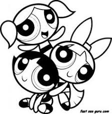 Printable Happy Powerpuff Girls Colouring Pages