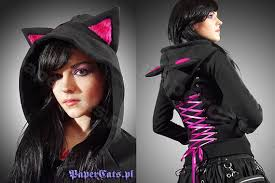 cat hoodies hoodie black cat ears corset kawaii