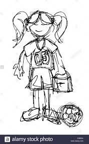 Original Black Ink Sketch Of A Little Girl With Lunchbox Ready To