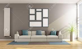 moderne wohnzimmer mit sofa vertikale heizkörper und leere rahmen an der wand 3d rendering