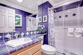hell lila badezimmer mit fliesenwandverkleidungen und glastür dusche
