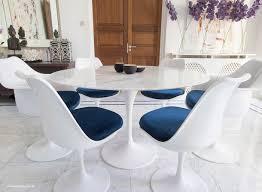 Set - 120cm White Carrara Marble Circular Table & 4 Tulip Side, 2 Tulip Arm  Chairs