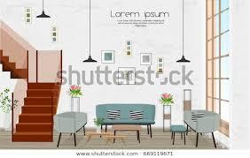 möbel innenausstattung wohnzimmer mit sofa treppe