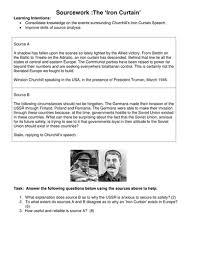 Winston Churchills Iron Curtain Speech Summary by Churchill U0027s Iron Curtain Speech By Alana852 Teaching Resources Tes