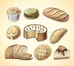 Puff pastry macaron croissant cheese cake and wheat rye bread doodle food icons set vector illustration Stock Vector
