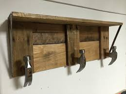 Rustic Shelf With Hammer Head Hooks