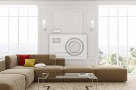 fototapete weißes wohnzimmer beige sofa und poster