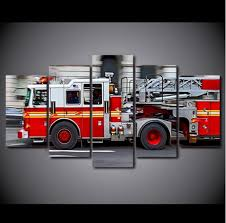 Wall Art Fire Truck Painting Firefighter Canvas Painting Picture-in ...