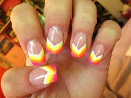 Neon rainbow painted nail tips Acrylic nail design art Great for
