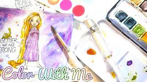 Disney Watercolor Coloring Book Princess Rapunzel