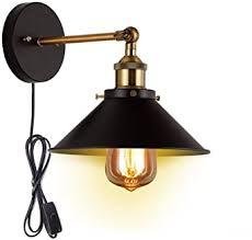 schwarz metall wandleuchte vintage industrie loft stil wandle mit stecker e27 lenfassung inline button switch wandleuchte für badezimmer