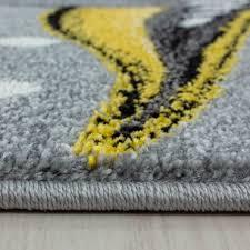 kurzflor kinderteppich einhorn baby kinderzimmer babyzimmer teppich grau gelb
