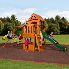 Patio Swing Sets Walmart by Backyard Discovery Atlantis Cedar Wooden Swing Set Walmart Com