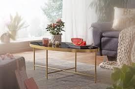 wohnling design couchtisch glas schwarz oval 110 x 56 cm mit gold metallgestell großer wohnzimmertisch lounge tisch glastisch