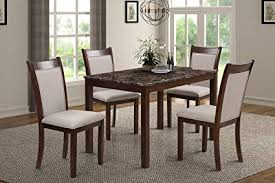 HarperBright Designs 5 Piece Dining Set Rubber Wood Include 1 Marble Top Table And 4 Burlap