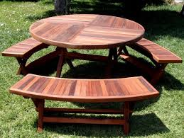 redwood round folding picnic table with arc benches
