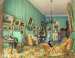 interior aus einem wohnzimmer 1847 aquarell und weiße farbe auf papier