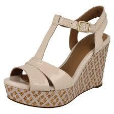 ladies clarks t bar high wedge sandals amelia roma ebay