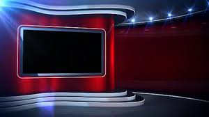Red Background News Set Virtual