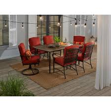 Hampton Bay Oak Cliff 7-Piece Outdoor Dining Set With 4 Stationary ...