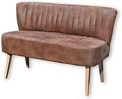 marcel esszimmerbank mit rückenlehne massivholz füßen microvelours bezug hellbraun bequeme 2 sitzer sitzbank mit gefedertem sitz 142 x 87 x 66